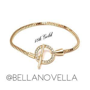 🆕 18k Gold & Crystal Circle Toggle Bracelet